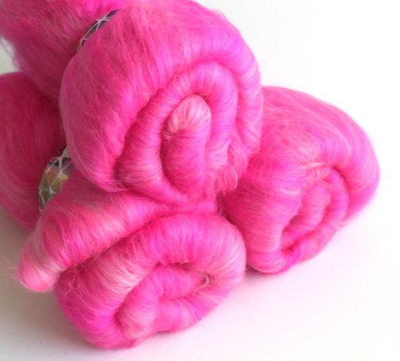 Carded Batt Merino Wool Vibrant Pink 100g
