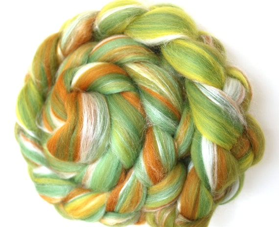 Merino Wool and Silk Combed Top - Fields of Gold 100g Roving