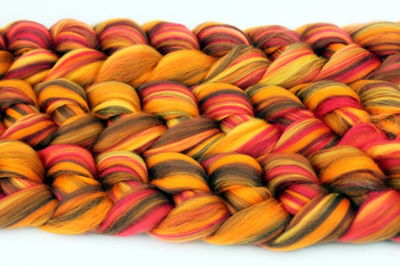 Hand spinning Fiber Combed Wool Top - Autumnal -  Merino Wool Felting Roving 100g Roving