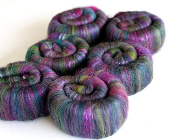 Rolags Merino Wool & Silk Peacock Sparkle 100g