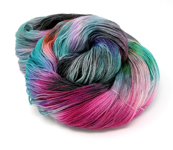 Hand Dyed Merino Superwash & Tencel Laceweight Yarn 100g 700m