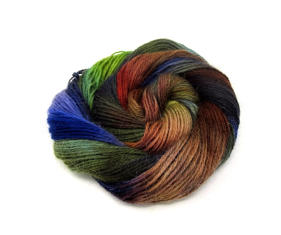 Teeswater Wool Yarn Hand Dyed DK Worsted Weight 100g T6