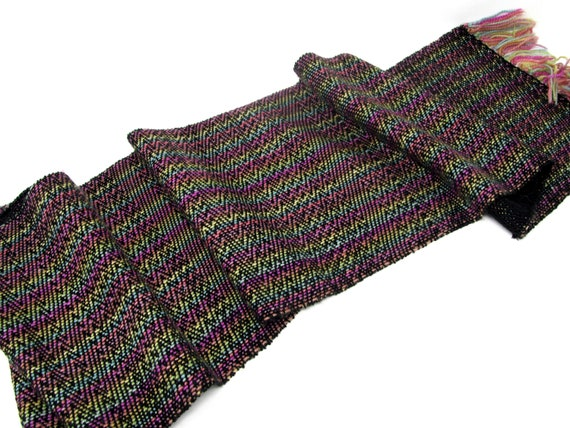 Handwoven Twill Scarf Hand Dyed BFL Sparkle and Cotton 46x9 inches