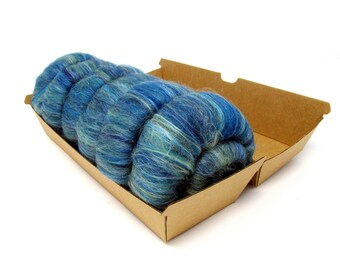 Seascape Rolags Merino Wool & Silk 60g 2oz for Hand Spinning Yarn
