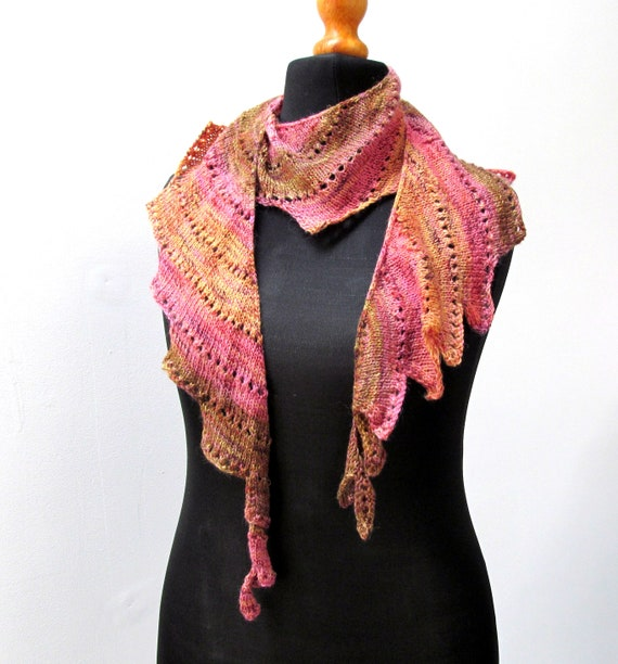 Hand knit wool Scarf - Here Be Water Dragons by Quinton Lime