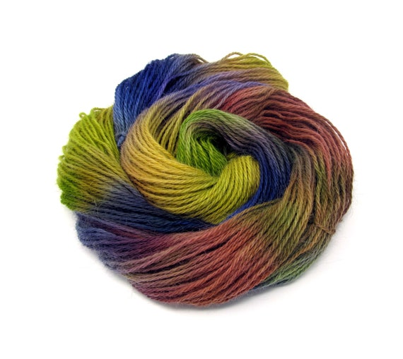 Teeswater Wool Yarn Hand Dyed DK Worsted Weight 100g T10