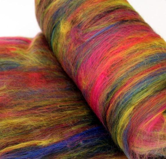 Carded Batt Merino Wool Fireworks 100g