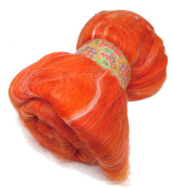 Carded Batt Merino Wool & Silk Satsuma Orange 100g