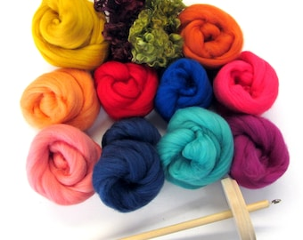 Drop Spindle Kit 200g - 7oz Fibres Handspinning Learn to Spin your own Yarn