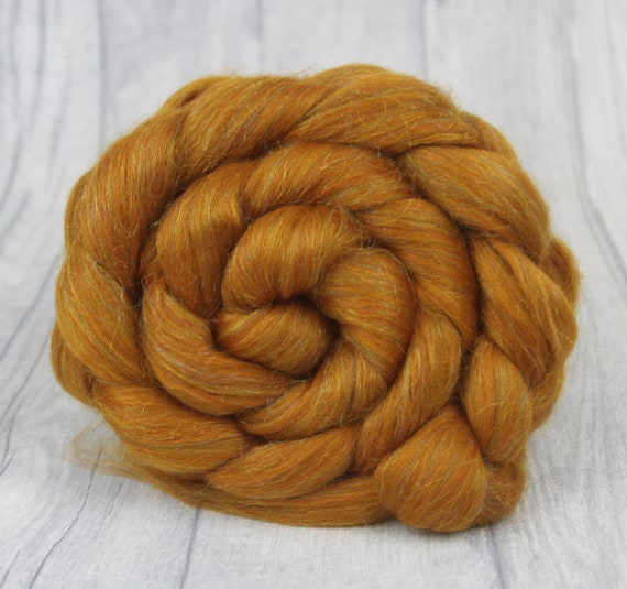 Merino Wool Felting Roving Fiber Combed Wool Top - Gingerbread Sparkle  100g