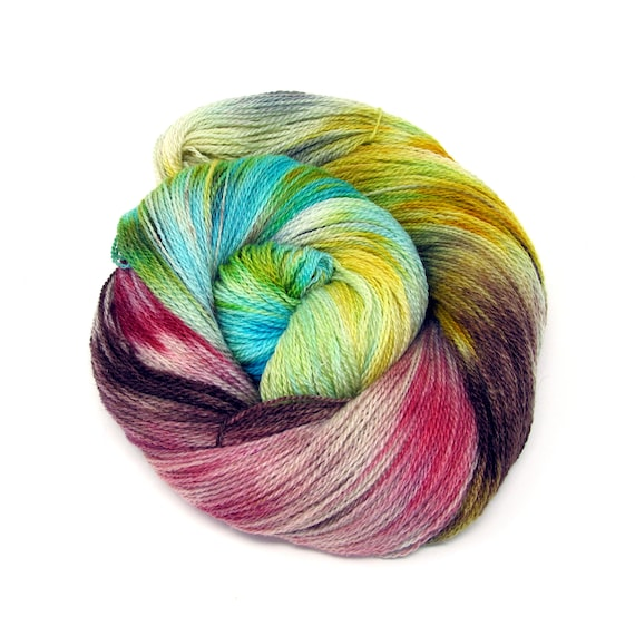 Hand Dyed Yarn Merino Wool & Silk Lace weight Yarn 100g 570m LMS4
