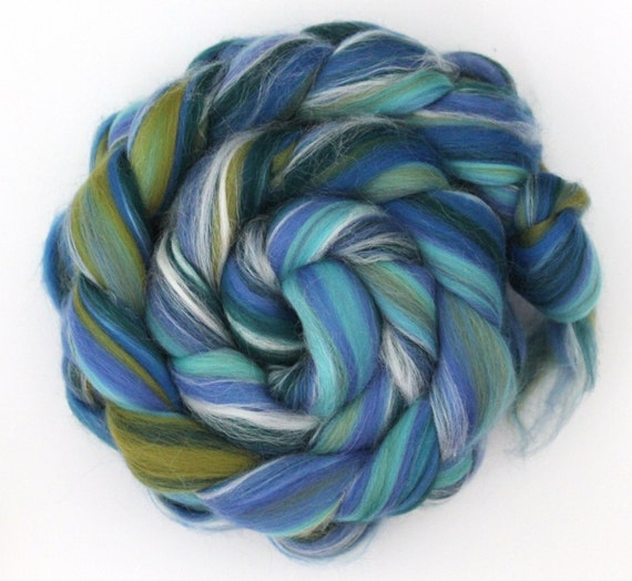 Merino Wool and Silk Combed Top - Seascape Spinning Felting Fibre 100g Roving
