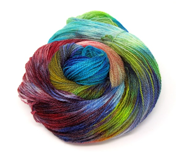 Hand Dyed Yarn Merino Wool & Silk Lace weight Yarn 100g 570m LMS2