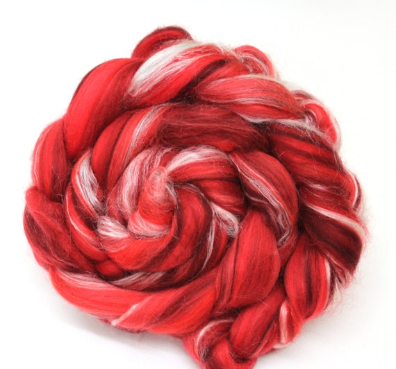 Merino Wool and Silk Combed Wool Top Scarlet Reds 100g Roving