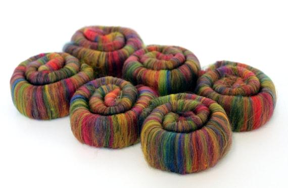 Merino Wool Rolags - Fireworks 100g