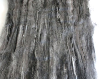Carded Batt Merino & Silk Monochrome Fine Merino Wool  for Spinning or Felting 100g
