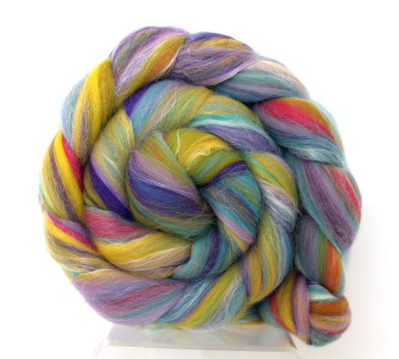 Lilac n Lime combed wool top Merino Silk  100g Roving