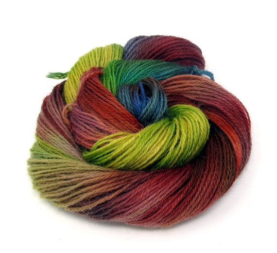 Teeswater Wool Yarn Hand Dyed DK Worsted Weight 100g T8