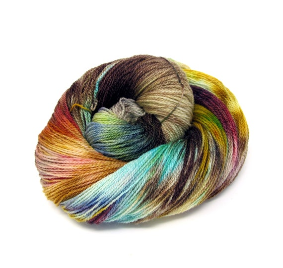 Hand Dyed Yarn Merino Wool & Silk Lace weight Yarn 100g 570m LMS6