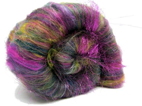 Carded Batt Merino Wool & Silk Angelina Peacock Sparkle 100g