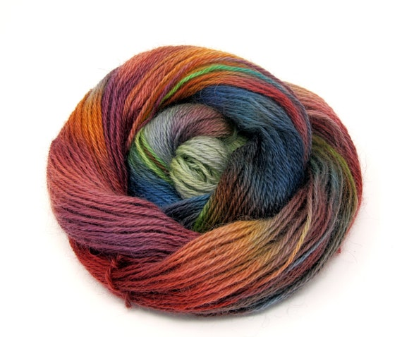 Teeswater Wool Yarn Hand Dyed DK Worsted Weight 100g T2