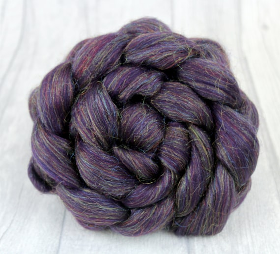 Hand spinning Fiber Combed Wool Top - Amethyst Sparkle -  Merino Wool Felting Roving 100g