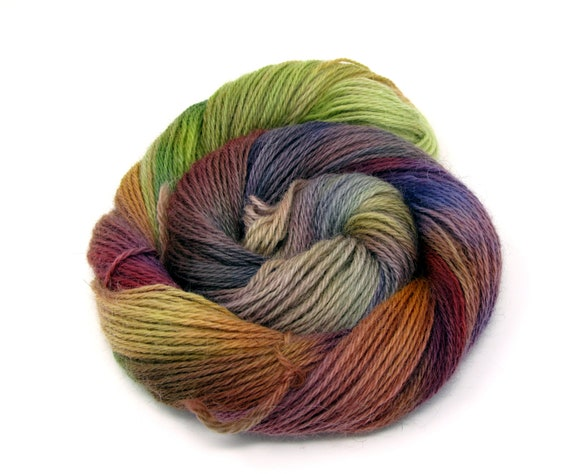 Teeswater Wool Yarn Hand Dyed DK Worsted Weight 100g T5