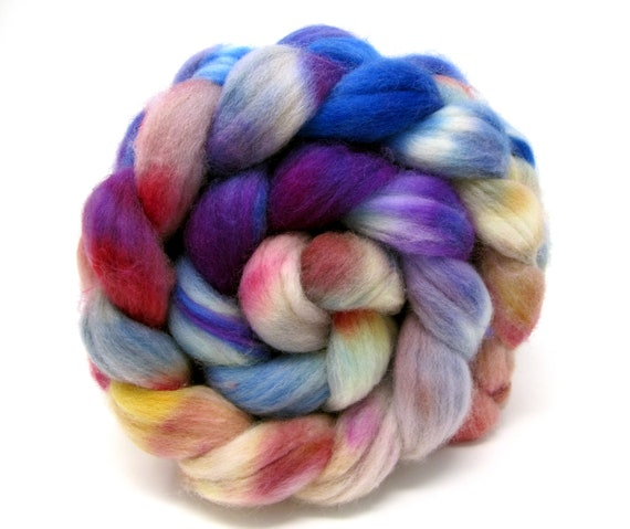 Polwarth Wool & Nylon Combed Top Hand Dyed Superwash Sock Blend 100g Roving