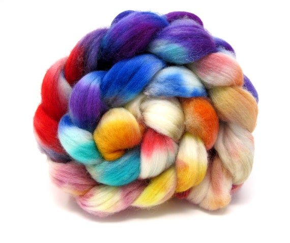 Kettle Dyed Combed Wool Top Hand Dyed Superwash Polwarth & Nylon Sock Blend 100g Roving