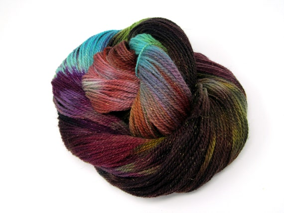 Merino Wool, Nylon and Sparkle Hand Dyed Sock Yarn  100g 350m