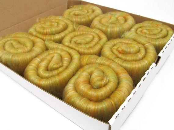 Rolags Merino Wool & Silk  - Harvest boxed 100g