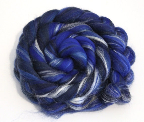 Merino Wool and Silk Combed Top Deep Blues 100g Roving