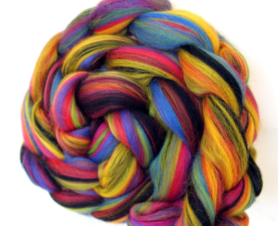 Fireworks Merino Combed Wool Top Roving 100g