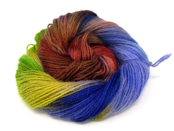 Teeswater Wool Yarn Hand Dyed DK Worsted Weight 100g T9