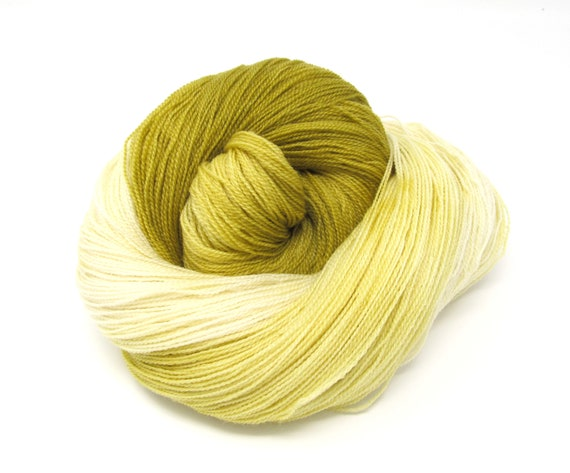 Hand Dyed Merino Wool & Tencel Lace weight Yarn Lemongrass  100g 700m