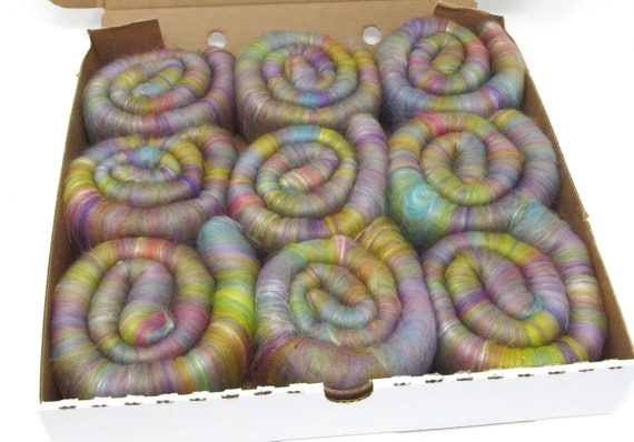 Rolags - Faded Rainbows Merino Wool & Silk 100g Boxed