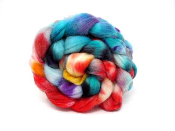 Hand Dyed Combed Wool Top Superwash Polwarth & Nylon Sock Blend 100g Roving