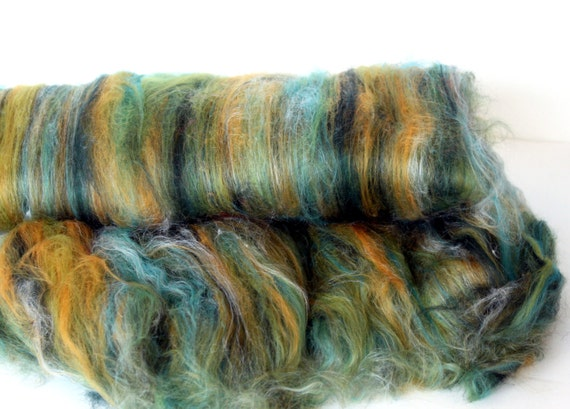 Carded Batt Merino Wool & Silk Mustard Tree 100g