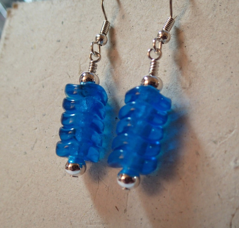 Turquoise Blue Wavy Bead Glass Beaded Earrings