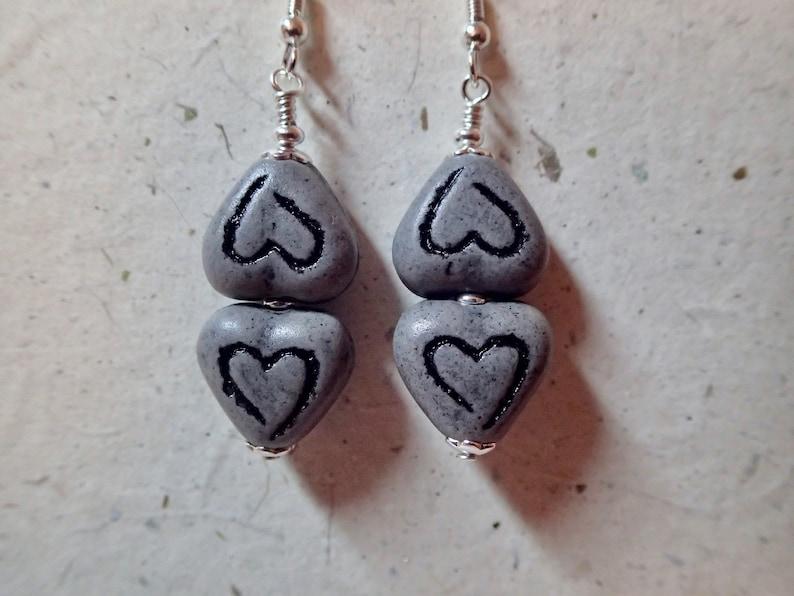 Greek Double Heart Ceramic Bead Earrings Gray Grey on silver