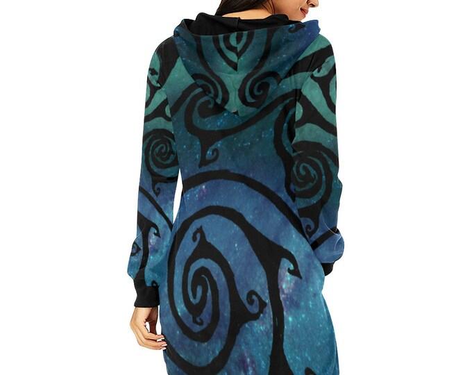 Celtic Spiral Galaxy, Hoodie Dress, Swirl, Spiral, Long Sleeve Dress, Celestial, Spiral Dress, Blue, Green, Galaxy, Original Art, Hand Drawn