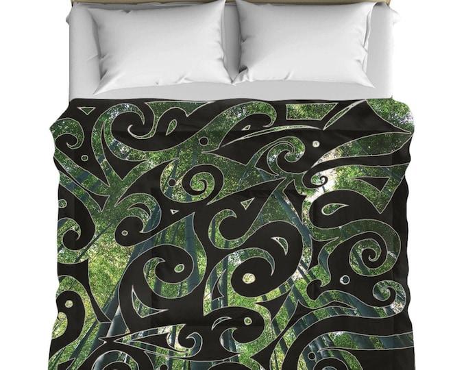 Kaguya Psypaisley Comforter, Quilt, Blanket, Black, Green, Bamboo, Forest, Swirl, Psychedelic, Paisley, Designer, Hand Drawn, Original Art