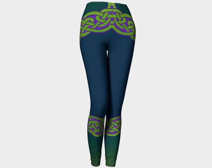 Celtic Briar, Green, Purple, Ombre, Leggings, Celtic Knot, Celtic Leggings, Pants, St Patricks Day, Irish, Dance, Hand Drawn, Original Art