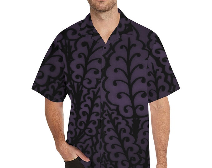 Medieval Leaves, Button-up Shirt, Royal Purple, Small to 5X Large, Purple,Mens Shirt, For Him, Button Shirt, Original Art, Hand Drawn