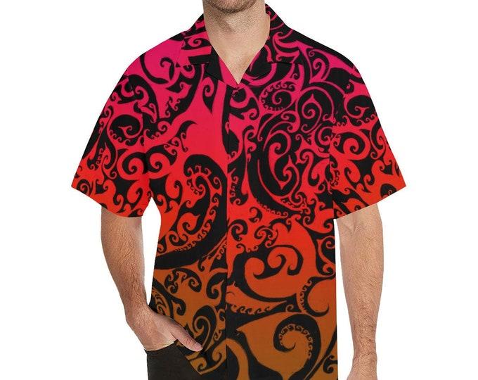 Autumnal Ombre, Button-up Shirt, Mens Shirt, Large Sizes, Red, Orange, Ombre, Spiral, Swirl, For Him, Button Shirt, Original Art, Hand Drawn