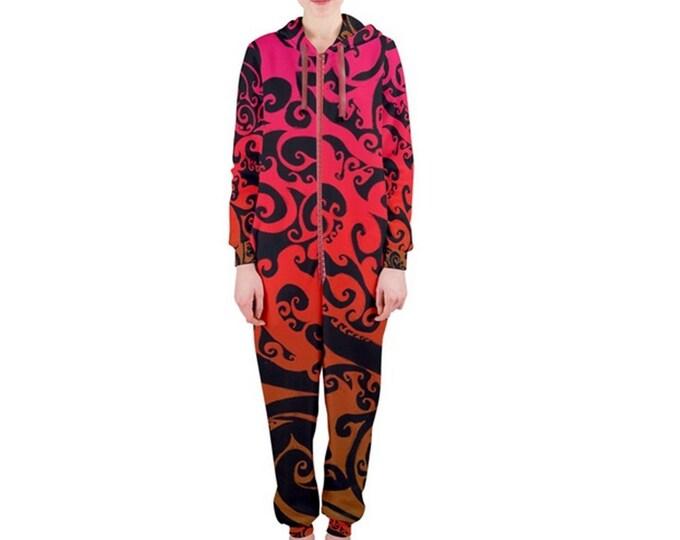Jumpsuit, Autumnal Ombre, One Piece, Onesie, Red, Orange, Black, Swirl, Fire, Flame, Pajamas, Hood, Loungewear, Ladies, Womens, by Caballera