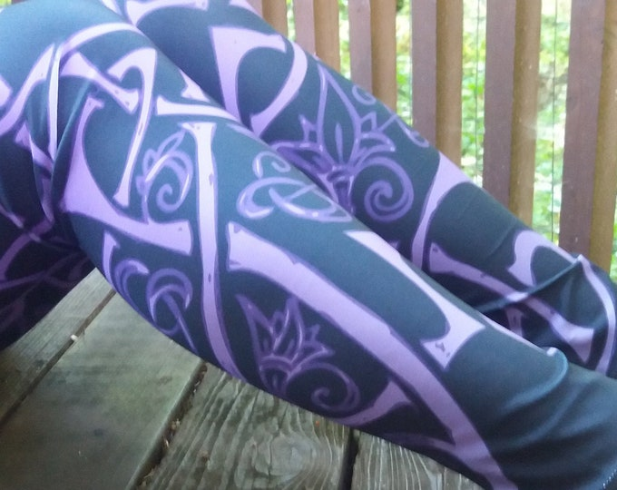 Wild Celtic Branches, Purple Celtic Knot Ombre Leggings, Flowers, Knotwork, Tangled, Vines, Raver, Festival, Festival Pants, Electric Purple
