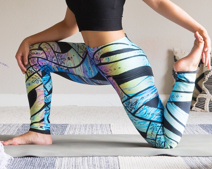 Liquid Rainbow, Celtic Knot Leggings, Rainbow Pants, Psychedelic, Trippy, Floral, Deco, Pride, Rave, Party, Festival, Original Ink Drawing