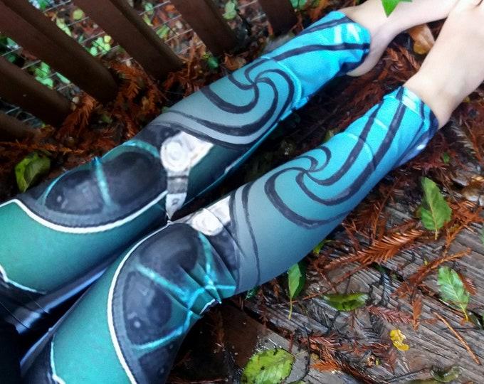 River Spirit II, Mecha Mermaid Armor, Steampunk, Blue,Mechanical,Festival,Tech,Rave,Turquoise,Cyberpunk, Leggings, Hand Drawn, Original Art