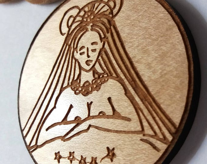 Ursa Major Constellation, Mama Bear Spirit Woman, Bear Headdress, Stars, Big Dipper, Chunky Wooden Necklace, by Laura Cesari for Caballera